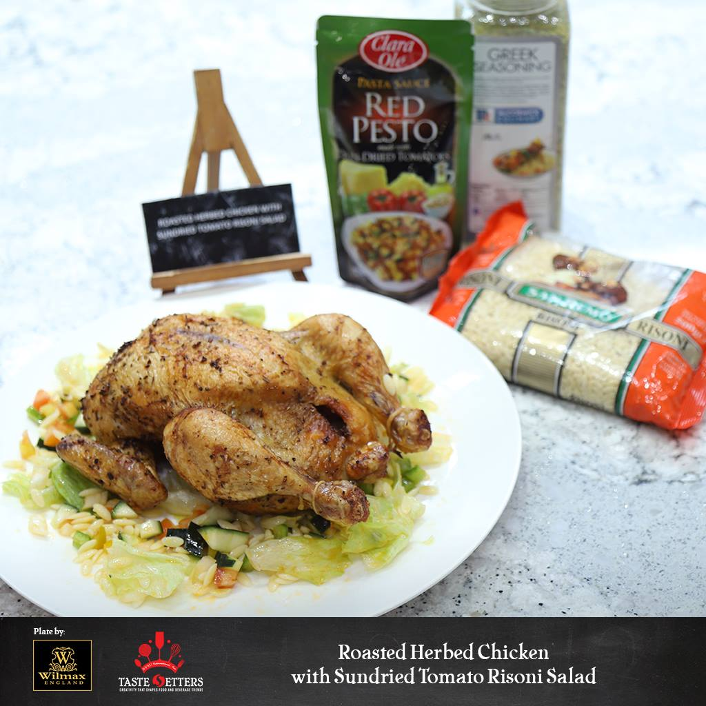 Roasted Herbed Chicken with Sundried Risoni Salad