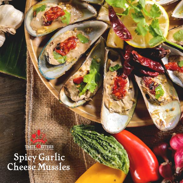 Spicy Garlic Cheesy Mussels